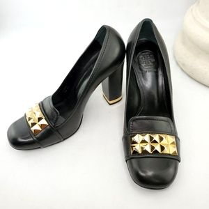 TORY BURCH Lizzy Block Heeled Loafer Black Leather with Gold, Size 6.5